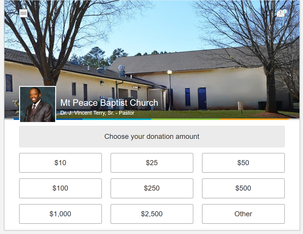 Mt Peace Baptist Church Online and Mobile Giving App